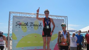 Top of the podium at the South Beach Triathlon.