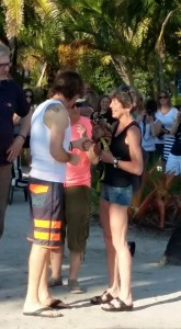 Rick Springfield takes a break from sound check to greet Lulu-Belle. This was taken before I tried to check in.